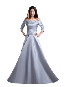 Silver Off The Shoulder Square Neck Prom Dress With 3/4 Sleeves