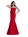 Elegant Red Strapless Sweetheart Mermaid Taffeta Prom Dress With Flowers