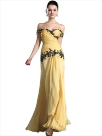 Yellow Off The Shoulder Sheath Chiffon Applique Dress With Front Cascade