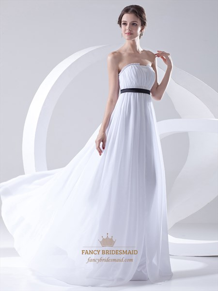 White Chiffon Strapless Empire Waist Bridesmaid Dress With Black Sash