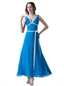 Blue Chiffon V Neck Empire Ankle Length Bridesmaid Dress With White Sash