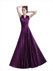 Purple V Neck Open Back Twist Detail Prom Dress With Bow On Back