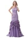 Lavender One Shoulder Mermaid Organza Prom Dresses With Petals