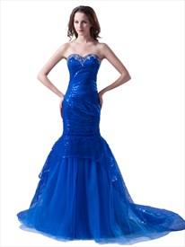 Sapphire Blue Mermaid Beaded Sweetheart Neckline Sequin Prom Dresses