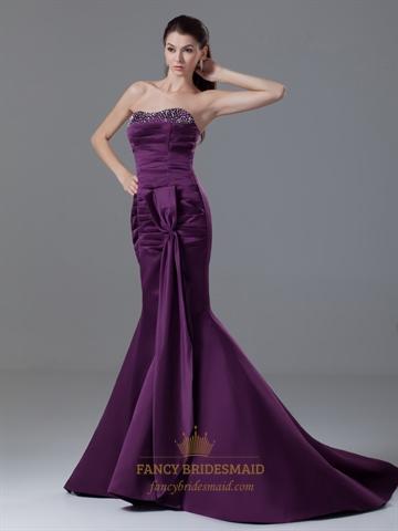 dark purple strapless mermaid beaded neckline prom dress