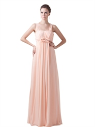 Peach Chiffon Empire Waist Embellished Bridesmaid Dresses With Back Bow