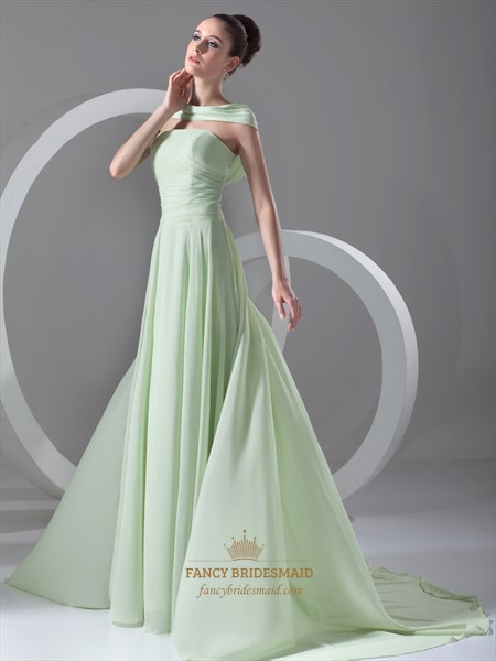 Mint Green Strapless Chiffon Ruched Bridesmaid Dress With Sweep Train