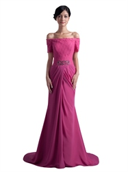 Hot Pink Off The Shoulder Short Sleeve Lace Bodice Beaded Prom Dress