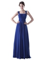 Royal Blue Chiffon Square Neck Ruched Bridesmaid Dresses With Straps