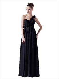 Black Chiffon One Shoulder Empire Waist Flower Strap Bridesmaid Dresses
