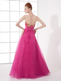 aa4b5a4658b5 Hot Pink Strapless Sweetheart Organza Prom Dress With Lace Applique