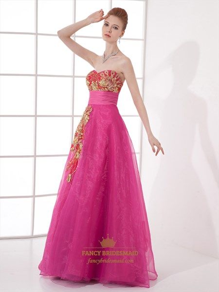 Hot Pink Strapless Sweetheart Organza Prom Dress With Lace Applique