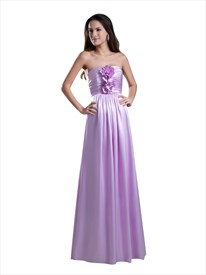 Lilac Strapless Ruched Bodice Bridesmaid Dresses With Flower Detail