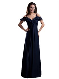 Navy Blue Chiffon Empire Off The Shoulder Bridesmaid Dress With Straps
