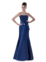 Royal Blue Strapless Mermaid Taffeta Bridesmaid Dresses With Bow