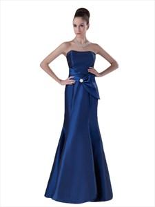 Royal Blue Strapless Mermaid Taffeta Bridesmaid Dresses With Bow