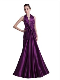 Purple Halter Neck Deep V Neck Floor Length Prom Dress With Sash