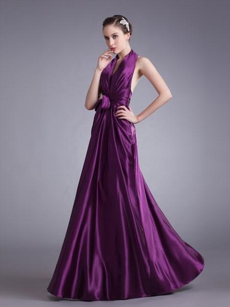 Purple Halter Neck Deep V Neck Floor Length Prom Dress With Sash