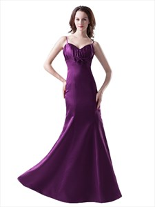 Purple Spaghetti Strap Mermaid Bow Trim Ruched Bodice Bridesmaid Dresses