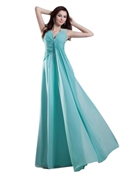 Turquoise V Neck Sleeveless Chiffon Prom Dress With Beaded Straps