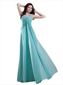 Turquoise V Neck Sleeveless Chiffon Prom Dress With Beaded Straps