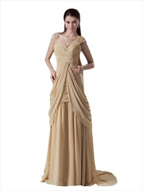 Gold Sheath One Shoulder Sweetheart Neckline Draped Chiffon Prom Dress