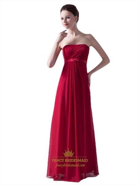 Red Strapless Empire Waist Chiffon Bridesmaid Dress With Lace Up Back