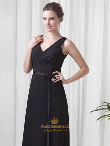 Black Chiffon V Neck Sleeveless Dresses For Outdoor Summer Wedding Guest