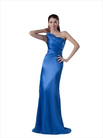 Sapphire Blue One Shoulder Sheath Floor Length Formal Dress With Ruching