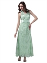Mint Green Halter Lace Ankle Length Bridesmaid Dress With Lace Up Back
