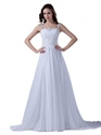 White Beaded Lace Applique Sweep Train Chiffon Wedding Dress With Straps