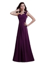 Purple Chiffon One Shoulder Bridesmaid Dress With Cascading Detail