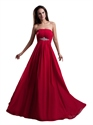 Red Chiffon Strapless Empire Bridesmaid Dresses With Beaded Waist Detail