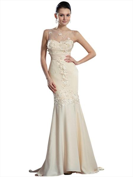 Champagne Illusion Neckline Mermaid Chiffon Prom Dress With Flowers