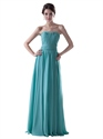 Turquoise Chiffon Strapless Ruched Bodice Bridesmaid Dress For Beach