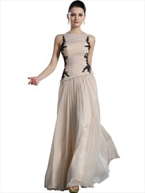 Champagne Boat Neck Sleeveless Chiffon Prom Dress With Applique Detail