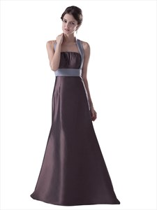 Brown Halter Neck Taffeta Empire Bridesmaid Dresses With Ruching