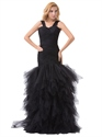 Black Mermaid Tulle Ruched Bodice Prom Dress With Ruffle Skirt