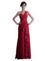 Red Chiffon One Shoulder Bridesmaid Dresses With Cascading Detail