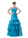 Blue One Shoulder Mermaid Tiered Skirt Prom Dress With Beaded Straps
