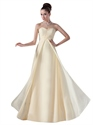 Flowy Pale Yellow Sweetheart Empire Floor-Length Bridesmaid Dress