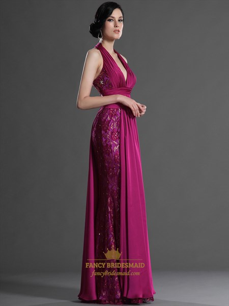 Hot Pink Chiffon And Lace Halter Deep V Neck Mermaid Prom Dress