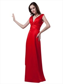 Red V Neck Sleeveless Long Bridesmaid Dresses For Outdoor Wedding