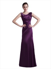 Purple Sheath Scoop Neck Beaded Embellished Prom Dress With Ruched Bust