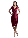 Burgundy V Neck Sheath Knee Length Cocktail Dresses With Front Ruffles