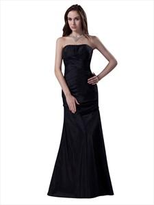 Black Strapless Sheath Taffeta Full Length Bridesmaid Dress With Ruching