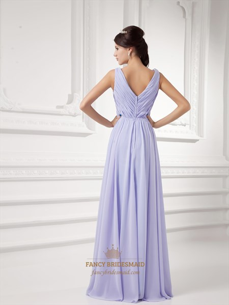 Lilac V Neck Chiffon Ruched Bodice Bridesmaid Dresses With Beaded Detail