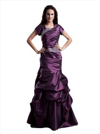 Grape Square Neck Beaded Taffeta Prom Dress With Pick Up Skirt