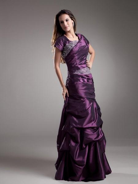 Grape Square Neck Beaded Taffeta Prom Dress With Pick Up Skirt
