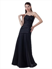 Black Strapless Drop Waist Ruched Prom Dress With Gathered Bodice